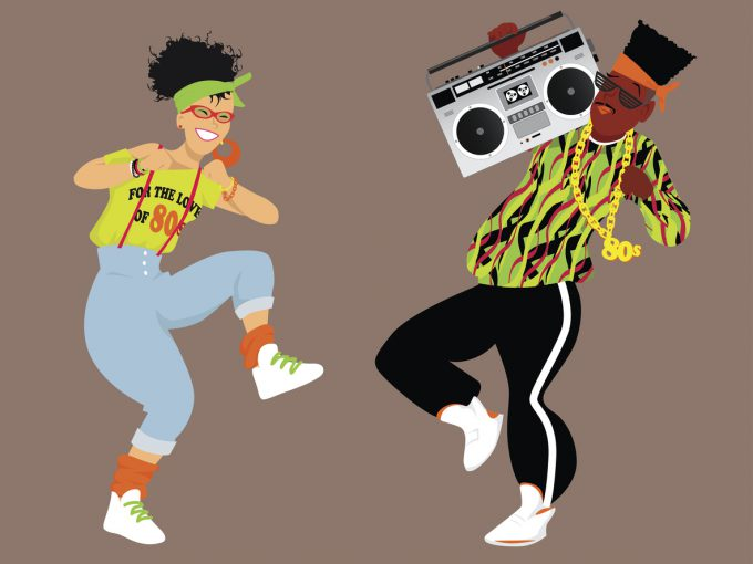 Young couple dressed in 1980s fashion listening music from a boombox and dancing, EPS 8 vector illustration